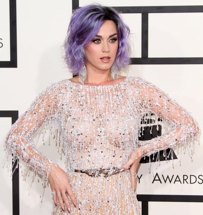 Katy Perry's glitzy, sheer dress from Zuhair Murad