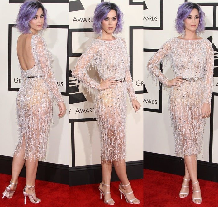 Katy Perry flaunted her legs in Sophia Webster shoes