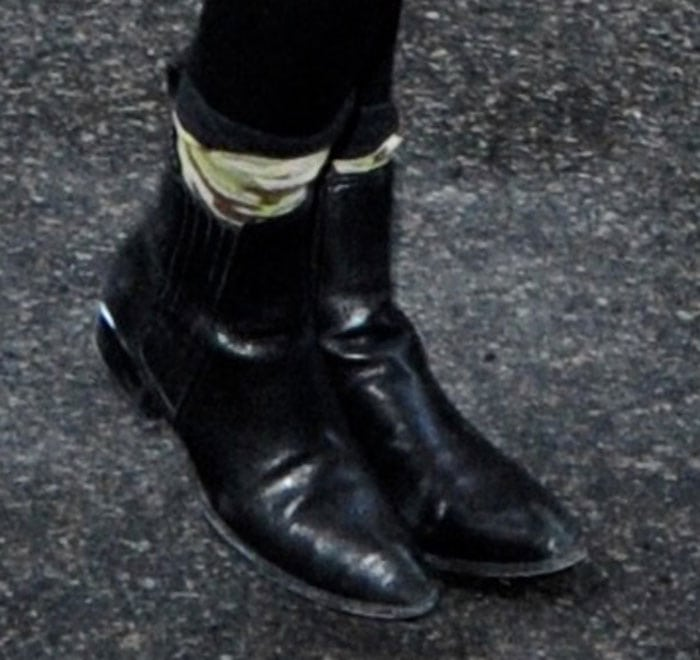 Kendall Jenner's ankle boots feature elastic gore details and cutouts