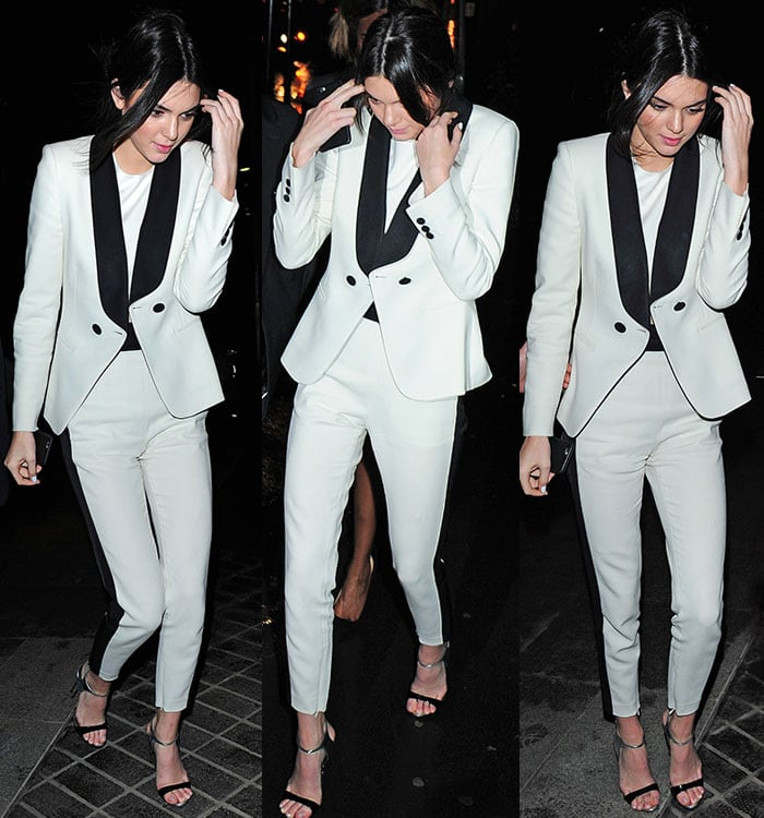 Kendall Jenner in high-waisted pants at a Mr. Chow restaurant
