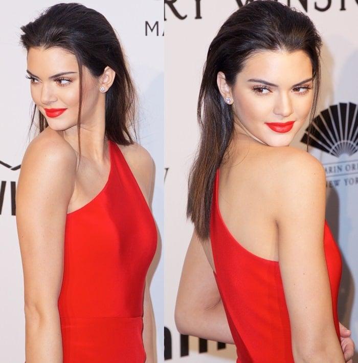 Kendall Jenner'ssuper sleek red scarlet dress from Romona Keveza
