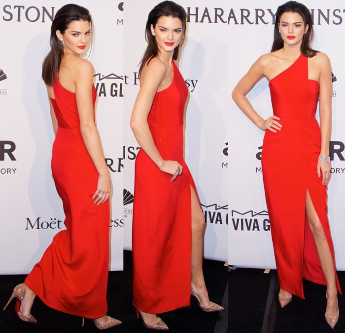 Kendall Jenner flaunted her bare skinny legs in a sexy red dress
