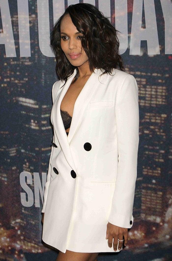Kerry Washington flashed her bra in a menswear-inspired blazer dress by Adam Lippes