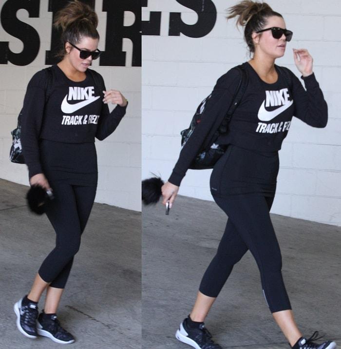 Khloe Kardashian wears Nike LunarEclipse 5 running shoes