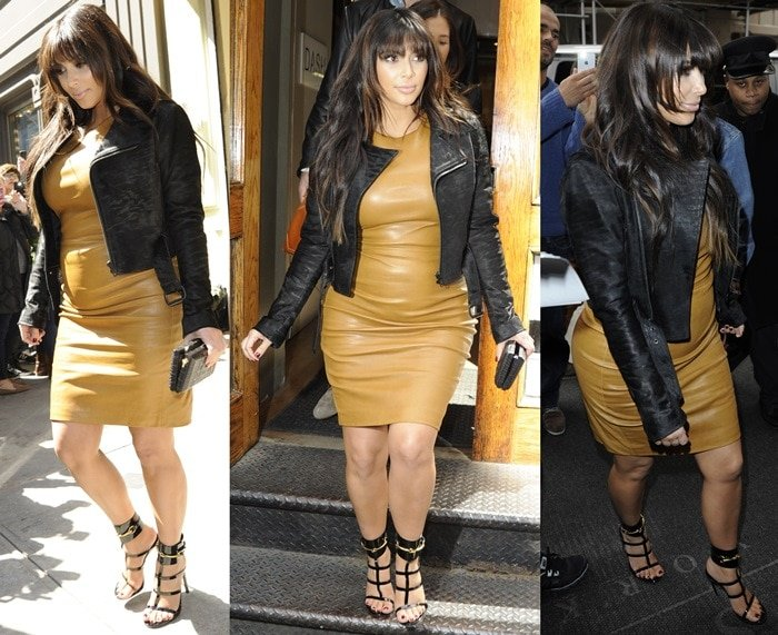 Pregnant Kim Kardashian wearing black patent leather sandals with a camel colored leather dress and a black leather biker jacket