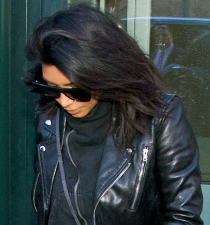 finest selection fa3a6 9a498 Kim Kardashians leather biker jacket by BLK DNM