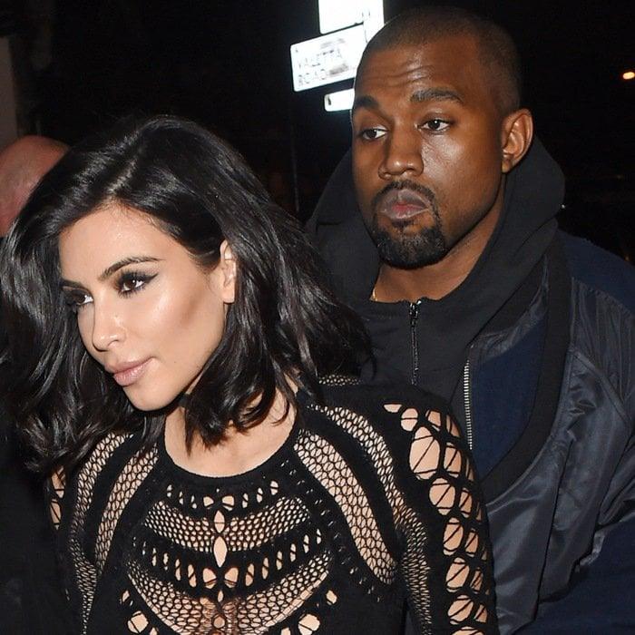 Kim Kardashian and Kanye West at a recording studio