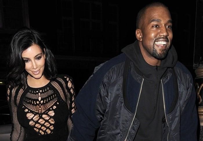 Kim Kardashian and Kanye West enjoy a late dinner date at Hakkasan restaurant in Mayfair