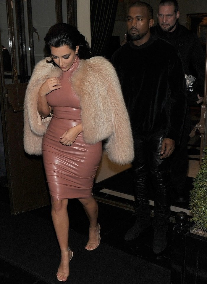 Kim Kardashian leaving the Dorchester hotel with husband Kanye West