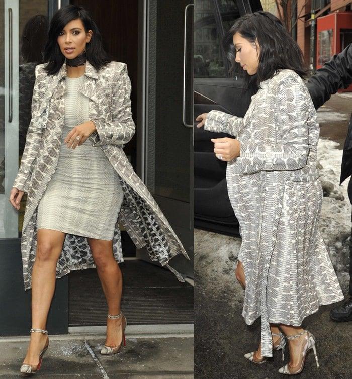 Kim Kardashian's sheath dress and coat from Lanvin