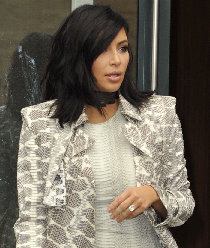 Kim Kardashian leaving her apartment in Manhattan on February 10, 2015