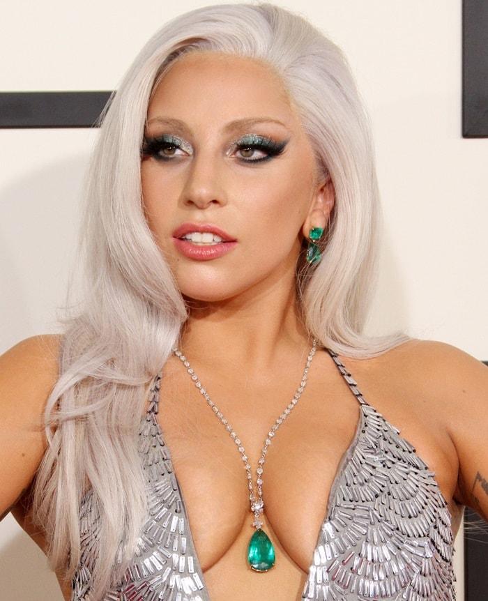 Lady Gaga's emerald, door knocker pendant necklace with a diamond chain