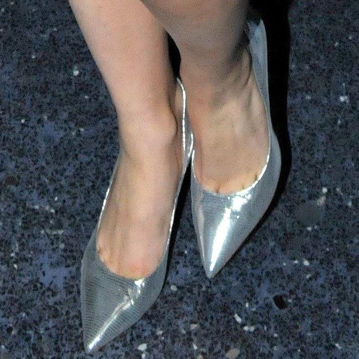 Lady Gaga silver Salvatore Ferragamo pumps 1