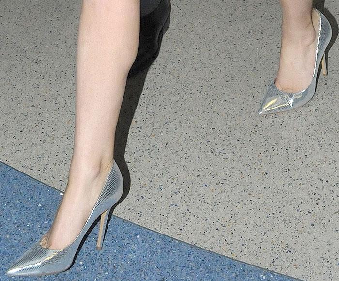 Lady Gaga silver Salvatore Ferragamo pumps