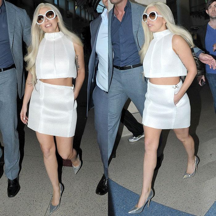 Lady Gaga white crop top LAX