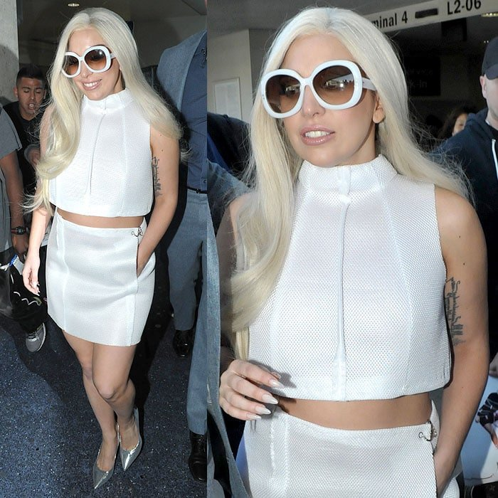Lady Gaga white outfit LAX