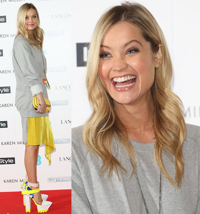 Laura Whitmore's loose-fitting gray sweater dress