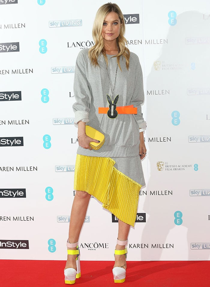 Laura Whitmore paraded her legs at the EE and InStyle pre-BAFTA party held at Ace Hotel in London, England, on February 2, 2015