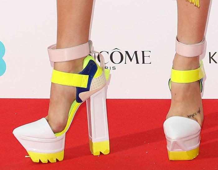 Laura Whitmore's towering block heels