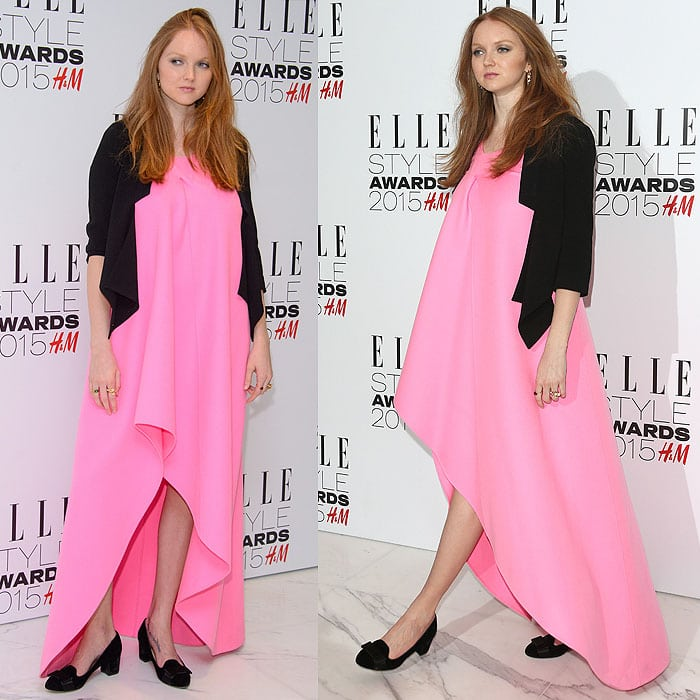 Lily Cole flaunted her legs in a tent-like dress