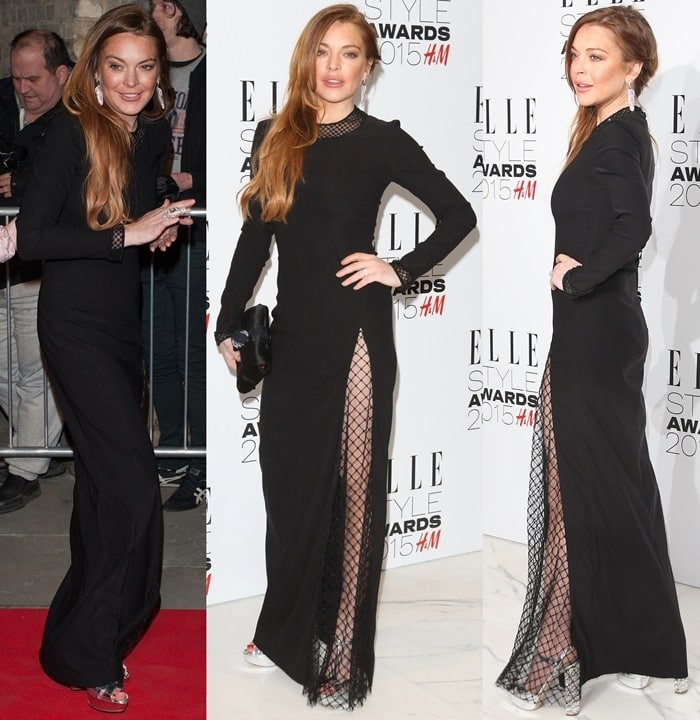 Lindsay Lohan in a long black Pa5h gown featuring fishnet mesh detailing
