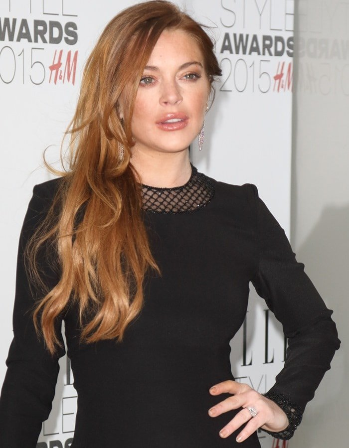 Lindsay Lohan at the 2015 Elle Style Awards held at Sky Garden at The Walkie Talkie Tower in London on February 24, 2015