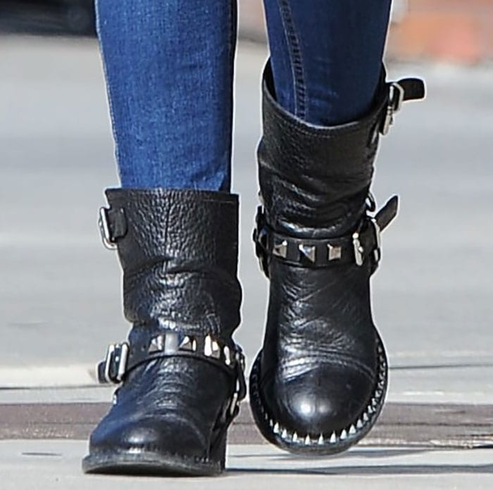 Lucy Hale's motorcycle boots by Miu Miu