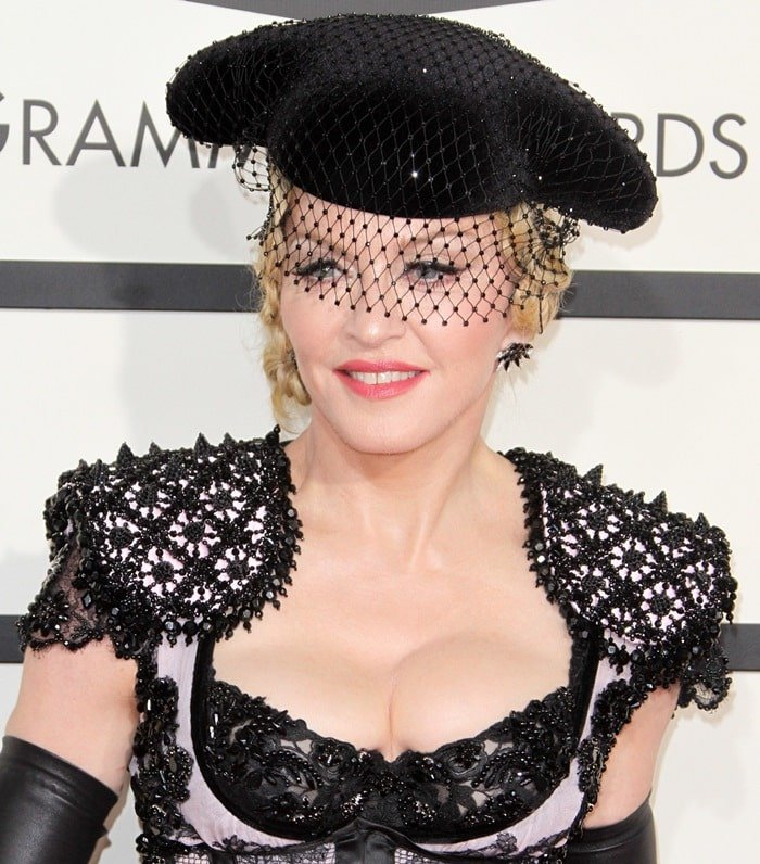 Madonna flashed cleavage in a burlesque-inspired outfit from Givenchy