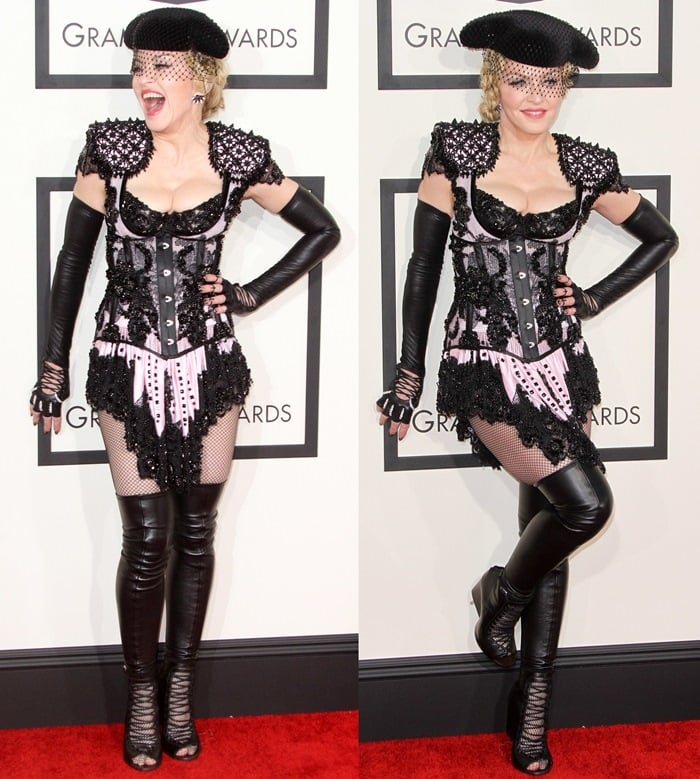 Madonna wearing fingerless arm gloves, black fishnets, and over-the-knee boots
