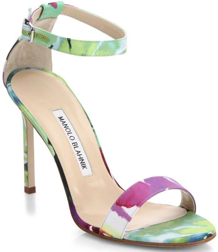 Manolo Blahnik Multicolor Chaos Floral Satin Ankle-Strap Sandals