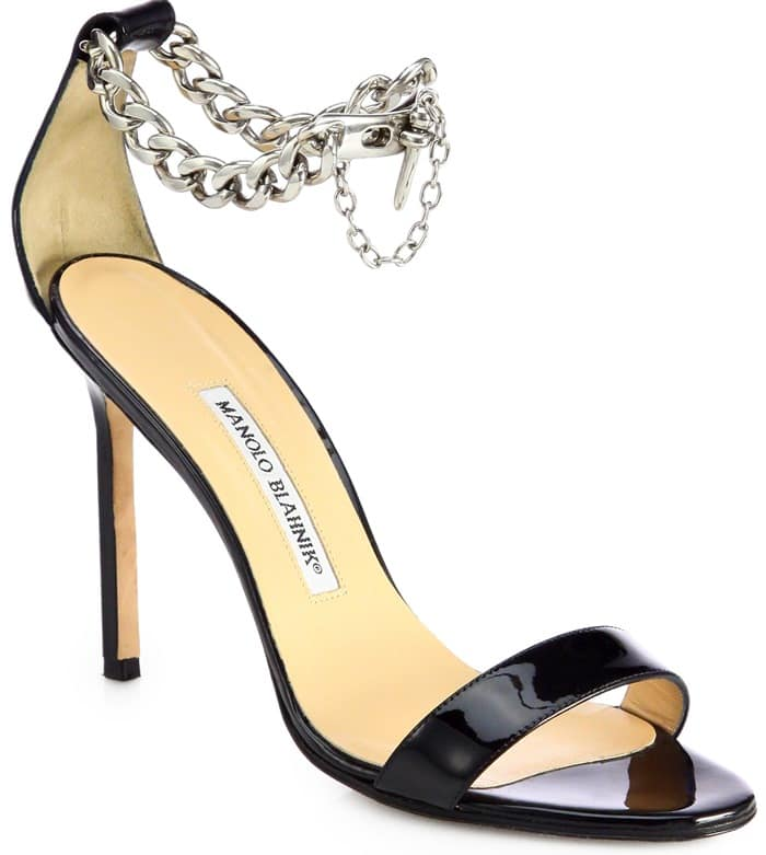 Manolo Blahnik Silver Chaos Patent Leather Ankle-Chain Sandals