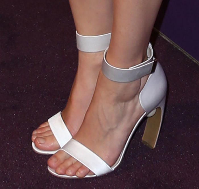 "Marion Cotillard showed off her feet in Nicholas Kirkwood ""Maeva"" satin sandals"