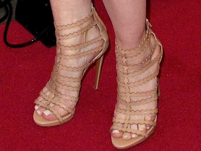 Melissa George's sexy feet in nude Alaia cage stiletto sandals
