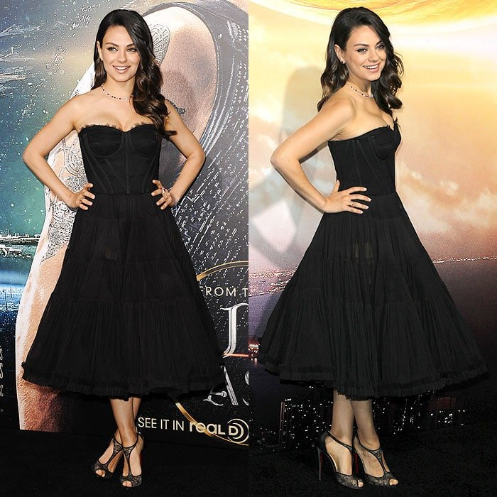 Mila Kunis at the premiere of Jupiter Ascending at the TCL Chinese Theatre in Hollywood, California, on February 2, 2015
