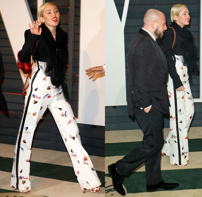 Miley Cyrus rocking an eye-catching pair of platform sandals from Brian Atwood's charity collection