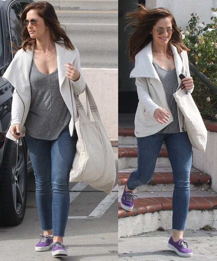 Minka Kelly shopping in jeans and purple sneakers at Alterations By Sofia