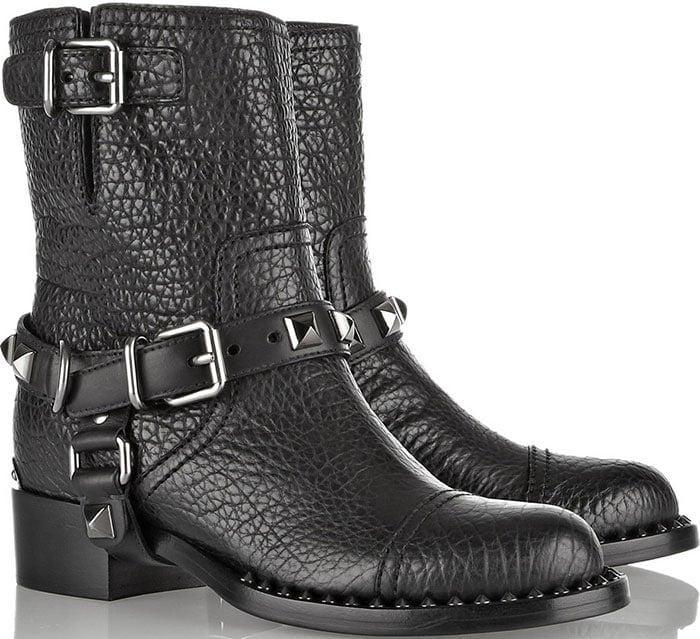Miu Miu Embellished Textured-Leather Biker Boots