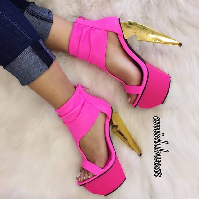c32bd991b2d0 3. Neon Pink T-Strap Platform High Heels in Faux Leather
