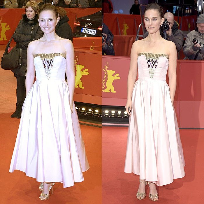 Natalie Portman in a pale pink faille strapless dress with sequined bodice detail from the Christian Dior pre-fall 2015 collection