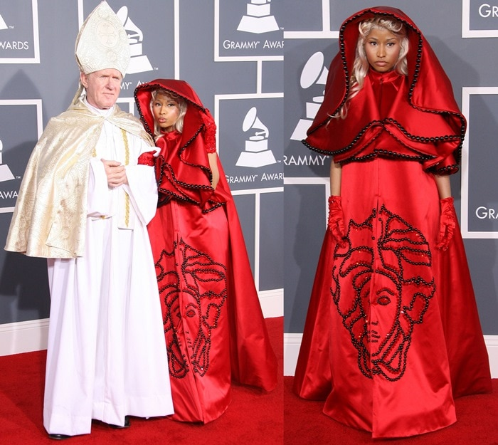 """Nicki Minaj dressed as a red nun and walked the red carpet with """"The Pope"""" at the 2012 Grammy Awards held at Staples Center in Los Angeles on February 12, 2012"""