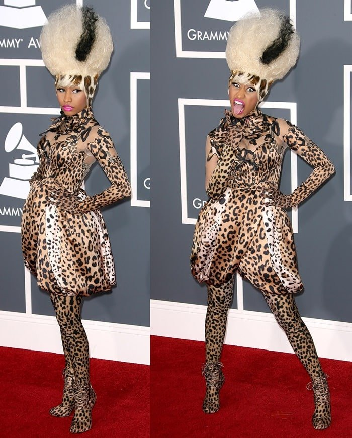 Nicki Minaj in a crazy leopard outfit from the Givenchy Fall 2007 Couture collection complete with matching boots and leggings