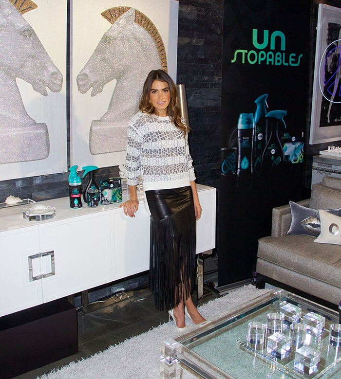 Nikki Reed's black leather fringed maxi skirt by Intermix