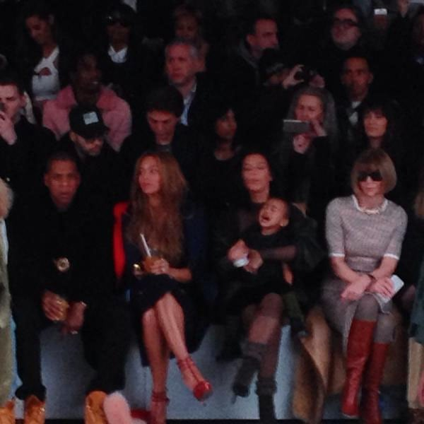 North West throwing a tantrum in the front row of the Adidas Originals x Kanye West Yeezy fashion show