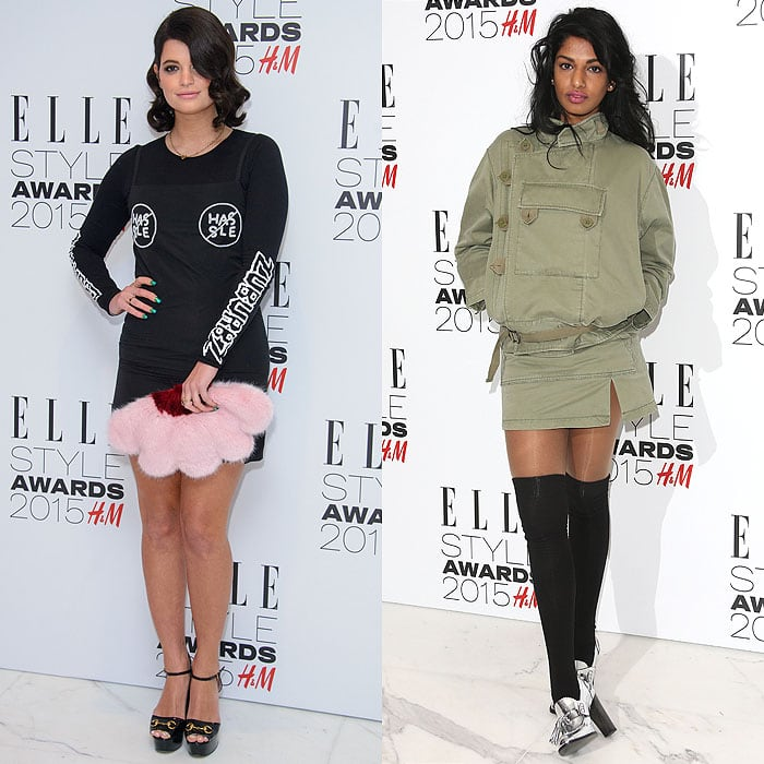 "Pixie Geldof in an Ashley Williams graphic-print long-sleeve LBD and Gucci ""Claudie"" platform sandals; M.I.A. in an army green utilitarian jacket and miniskirt, black thigh-high socks, and silver high-heel loafers"