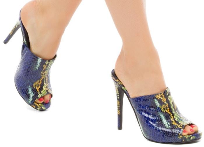 Ransa Blue Green Peep-Toe Sandals
