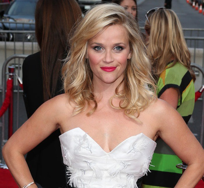 Reese Witherspoon inan embellished black-and-white dress from Prabal Gurung