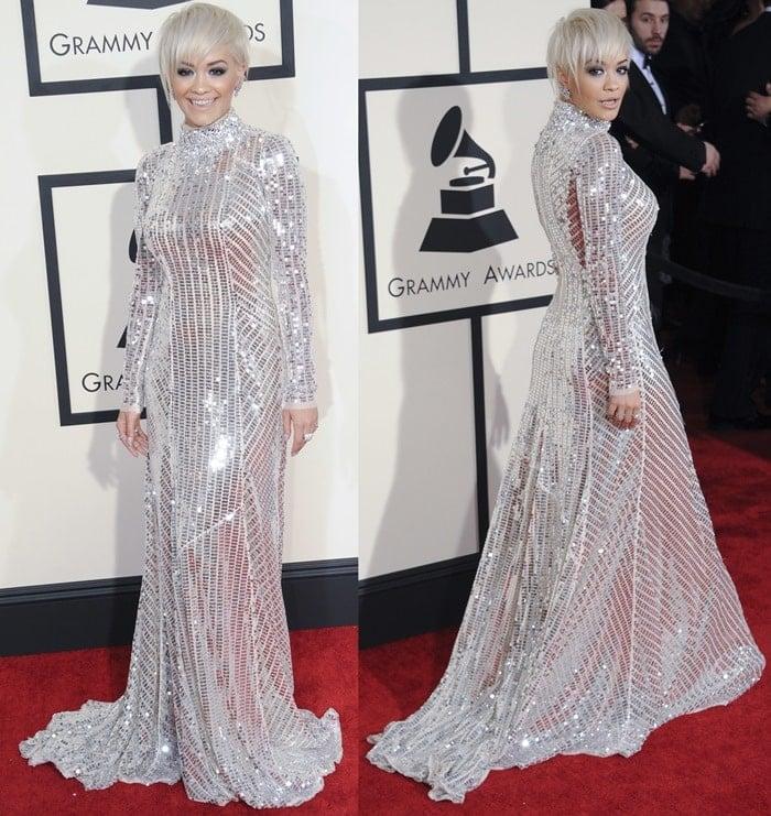 Rita Ora on the red carpet at the 2015 Grammy Awards