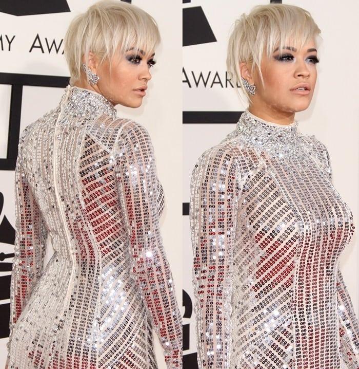Rita Ora's semi-sheer, long-sleeve dress