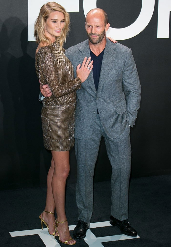 Rosie Huntington-Whiteley and Jason Statham at the Tom Ford Autumn/Winter 2015 Womenswear Collection Presentation at Milk Studios in Los Angeles on February 20, 2015