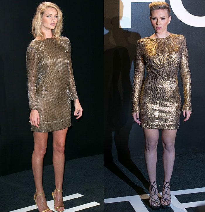 Rosie Huntington-Whiteley and Scarlett Johansson wearing gold Tom Ford dresses at the Tom Ford Autumn/Winter 2015 Presentation in Los Angeles on February 20, 2015